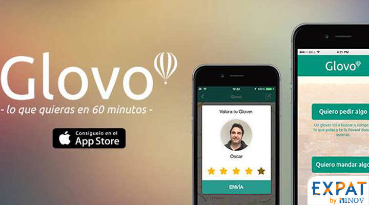glovo appli mobile sharing economy Français Espagne Barcelone expat by inov