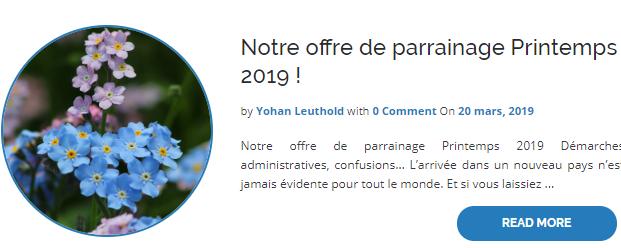 Offre parrainage Printemps 2019