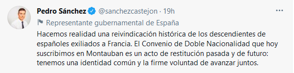 Twitte de Pedro Sanchez